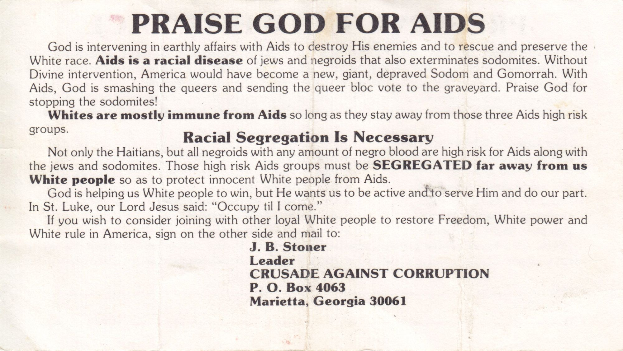 [Hate][Civil Rights][Lgbtq][Aids]praise God for AIDS.