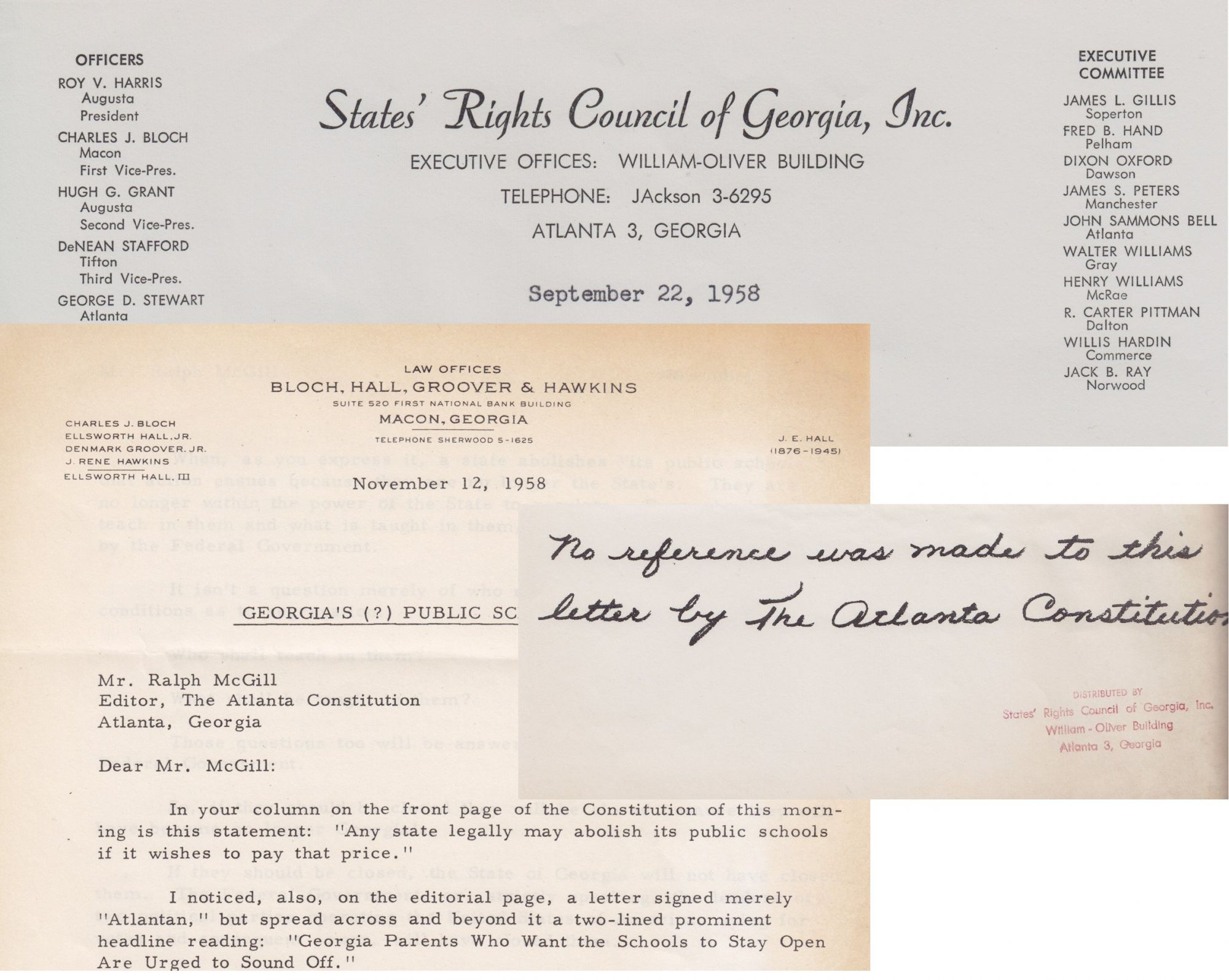 Catalog 2, Item #11 Ephemera from the States' Rights Council of Georgia