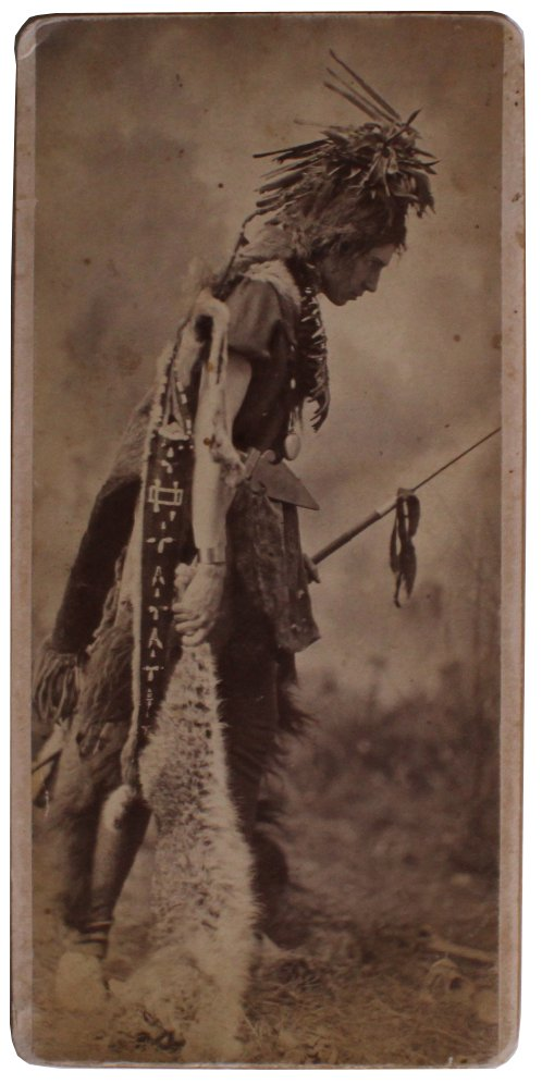 "Boudoir Cabinet Card Depicting ""native American"" with Freshly Killed Large Cat"