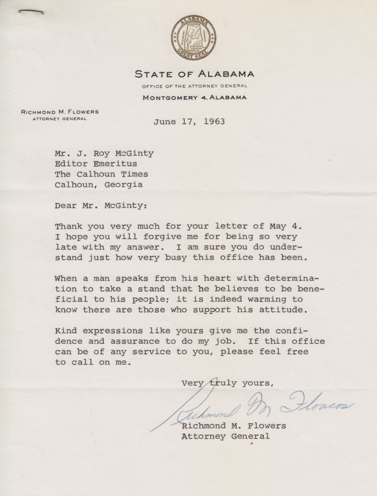 [African-Americana][Civil Rights][Segregation]typed Letter Signed by Alabama State Attorney General Who Defied Governor Wallace's Position on Integration. Richmond M. Flowers, Governor George Wallace.