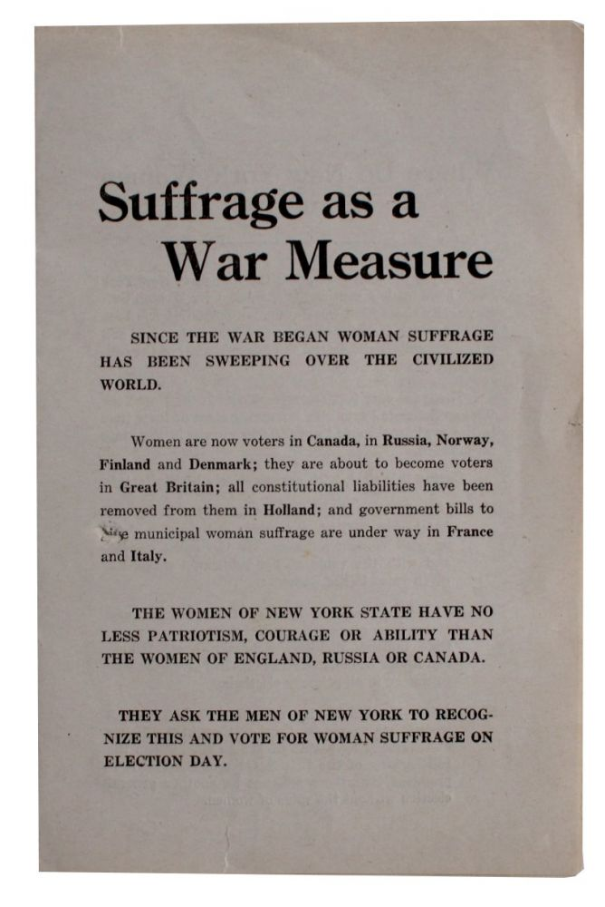 Suffrage as a War Measure [cover title].