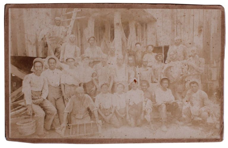 Albumen Photograph of African American Mining Team.