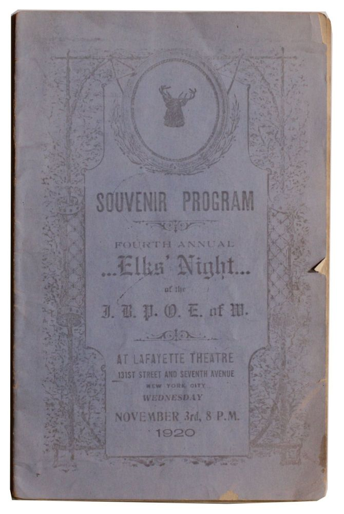 Souvenir Program Fourth Annual Elks' Night [Cover title]. . .