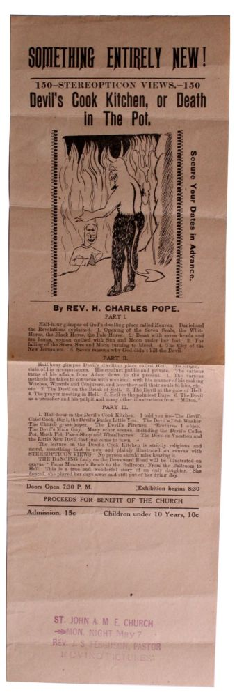 [African Americana][Religion][Movies] [Broadside for Showing Of] Devil's Cook Kitchen, or Death in the Pot. Rev. H. Charles Pope.