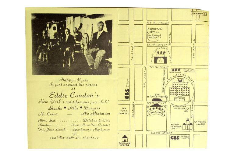 [Jazz] Advertising Flyer and Map for Eddie Condon's Jazz Club.