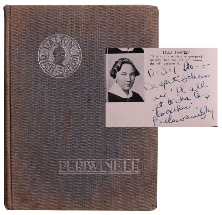 The Walton Periwinkle. [High School Yearbook Featuring Bella Abzug's Inscribed Senior Class Portrait. ]. Bella Abzug.