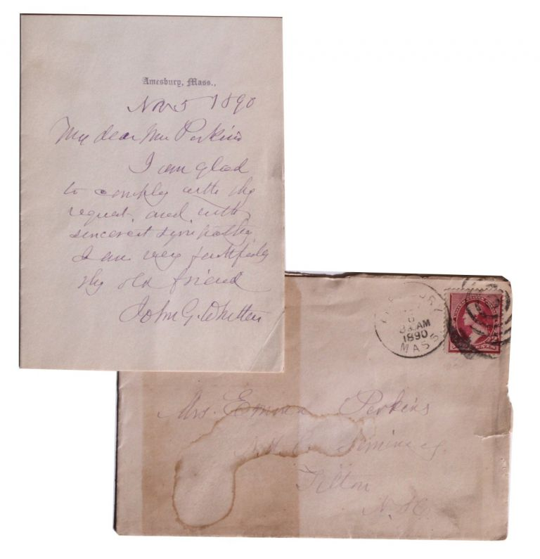 Autograph Note, Signed. John Greenleaf Whittier.