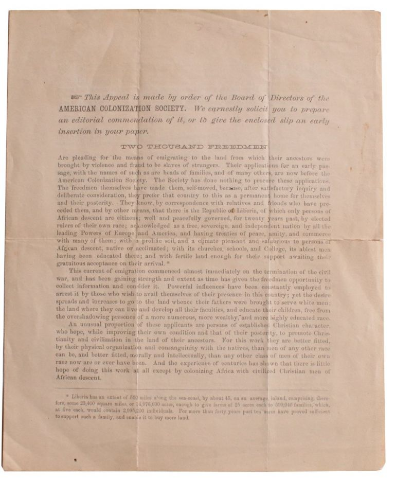 This Appeal is Made by Order of the Board of Directors of the AMERICAN COLONIZATION SOCIETY. . Harvey Lindsly.