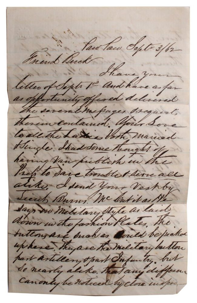 Letter from Paw Paw Merchant to Member of 4th Michigan Cavalry. L. Stevens, Homas.