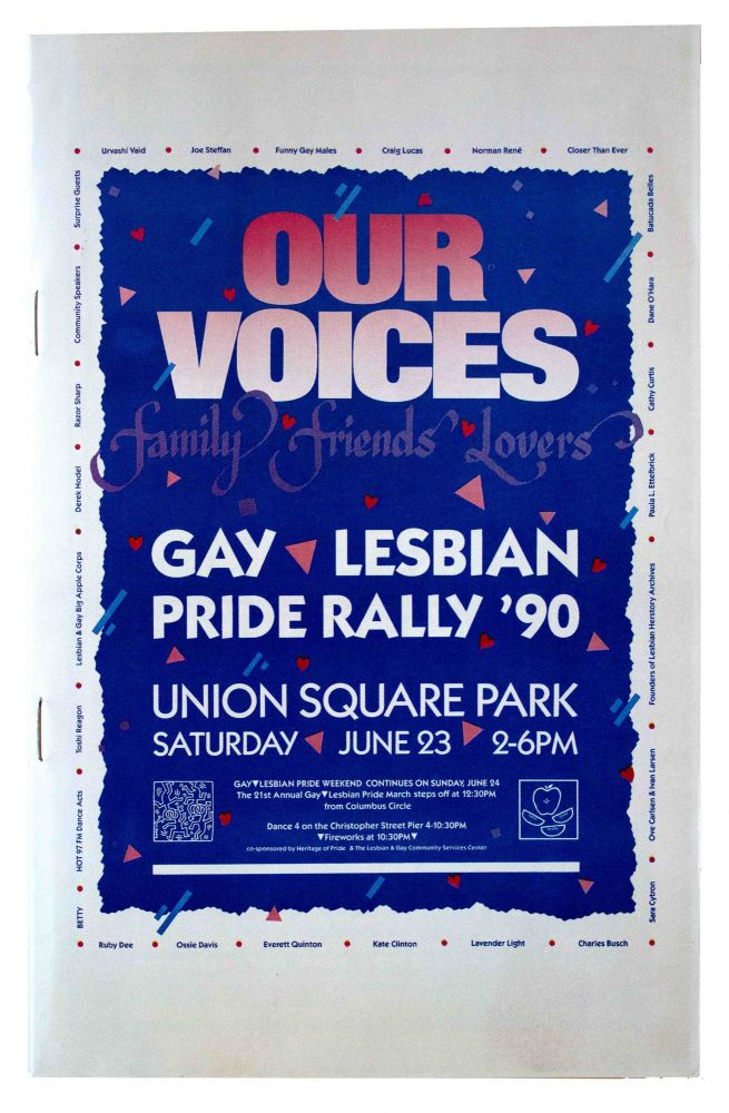 Our Voices: Family Friends Lovers Gay Lesbian Pride Rally '90 [Cover Title].