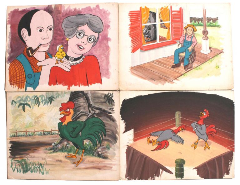 Eight Cartoon Storyboards Mostly Featuring Anthropomorphic Roosters or Chickens.