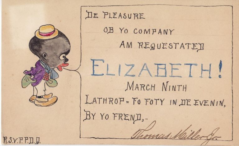[African-Americana] Handwritten and Illustrated Invitations with Racial Stereotypes. Thomas Miller Jr.