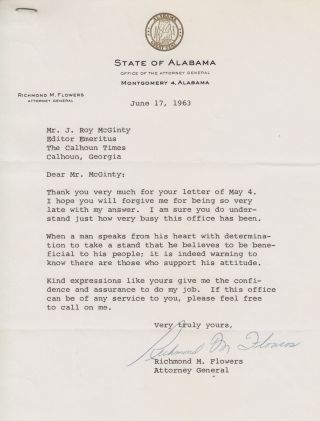 [African-Americana][Civil Rights][Segregation]typed Letter Signed by Alabama State Attorney...