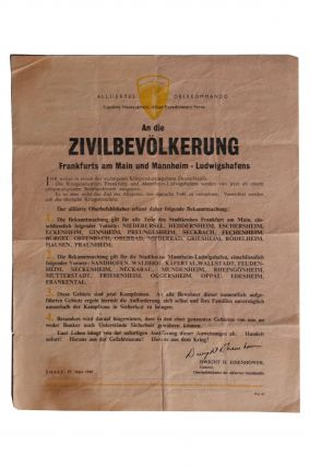 World War II] an Die ZIVILBEVÖLKERUNG [Allied Warning Leaflet to the Population of Frankfurt,...