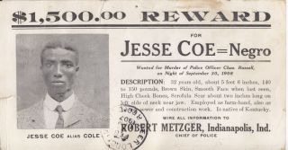 African-Americana][Crime]$1,500 Reward for Jesse Coe = Negro