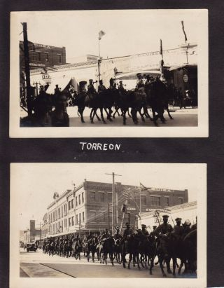Nine original Black and White Photographs of Soldiers in Torreon, Mexico, Including Two Street...
