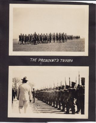 """Nineoriginal Black and White Photographs of Soldiers in Torreon, Mexico, Including Two Street Scenes. circa 1930s. photos Measure 3 3/4"""" X 5 3/4"""" and Are Glued Totrimmed Album Pages but Are Otherwise in Near Fine Condition."""