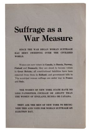 Suffrage as a War Measure [cover title