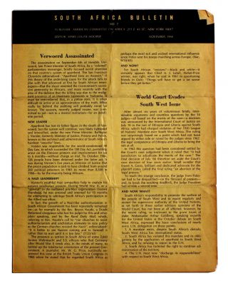 South Africa Bulletin. No. 7. [November, 1966]. Mary-Louise Hooper