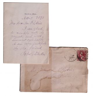 Autograph Note, Signed. John Greenleaf Whittier