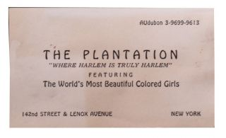 [African Americana] [Harlem Renaissance] Calling Card for The Plantation Club.