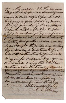 Letter from Paw Paw Merchant to Member of 4th Michigan Cavalry.