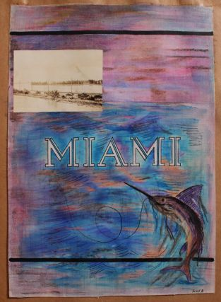 Artfully Created Scrapbook and Photo Album of Honeymoon Trip to the Caribbean, Cuba, and Southeastern United States with Many Original Illustrations.
