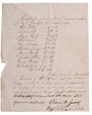 Manuscript Paymaster Document Regarding Sale Proceeds of Belongings of Deceased Colored Troops....