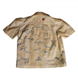 Shirt With Embroidered Signatures of 46 Japanese American Internees.
