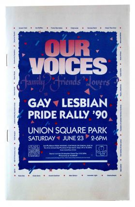 Our Voices: Family Friends Lovers Gay Lesbian Pride Rally '90 [Cover Title