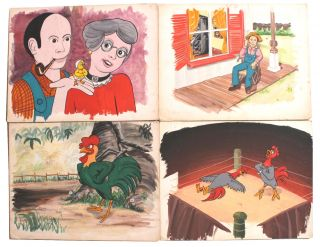 Eight Cartoon Storyboards Mostly Featuring Anthropomorphic Roosters or Chickens