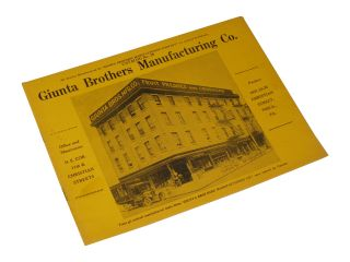 Giunta Brothers Manufacturing Co. Catalog No. 28.