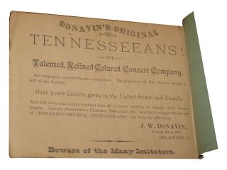 Selections of Plantation Songs As Sung by Donavin's Original Tennesseeans [Sic]. [Cover Title].