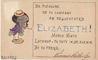 African-Americana] Handwritten and Illustrated Invitations with Racial Stereotypes. Thomas Miller Jr